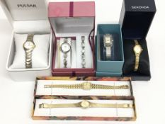 A collection of six ladies watches consisting of Pulsar, Limit (with matching bracelet), Past Times,