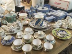 A collection of Wedgwood Jasper ware blue and whit