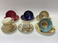 7 porcelain cabinet cups and saucers including Wor
