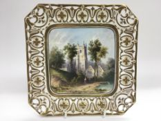 A handpainted square cabinet plate depicting St Ma