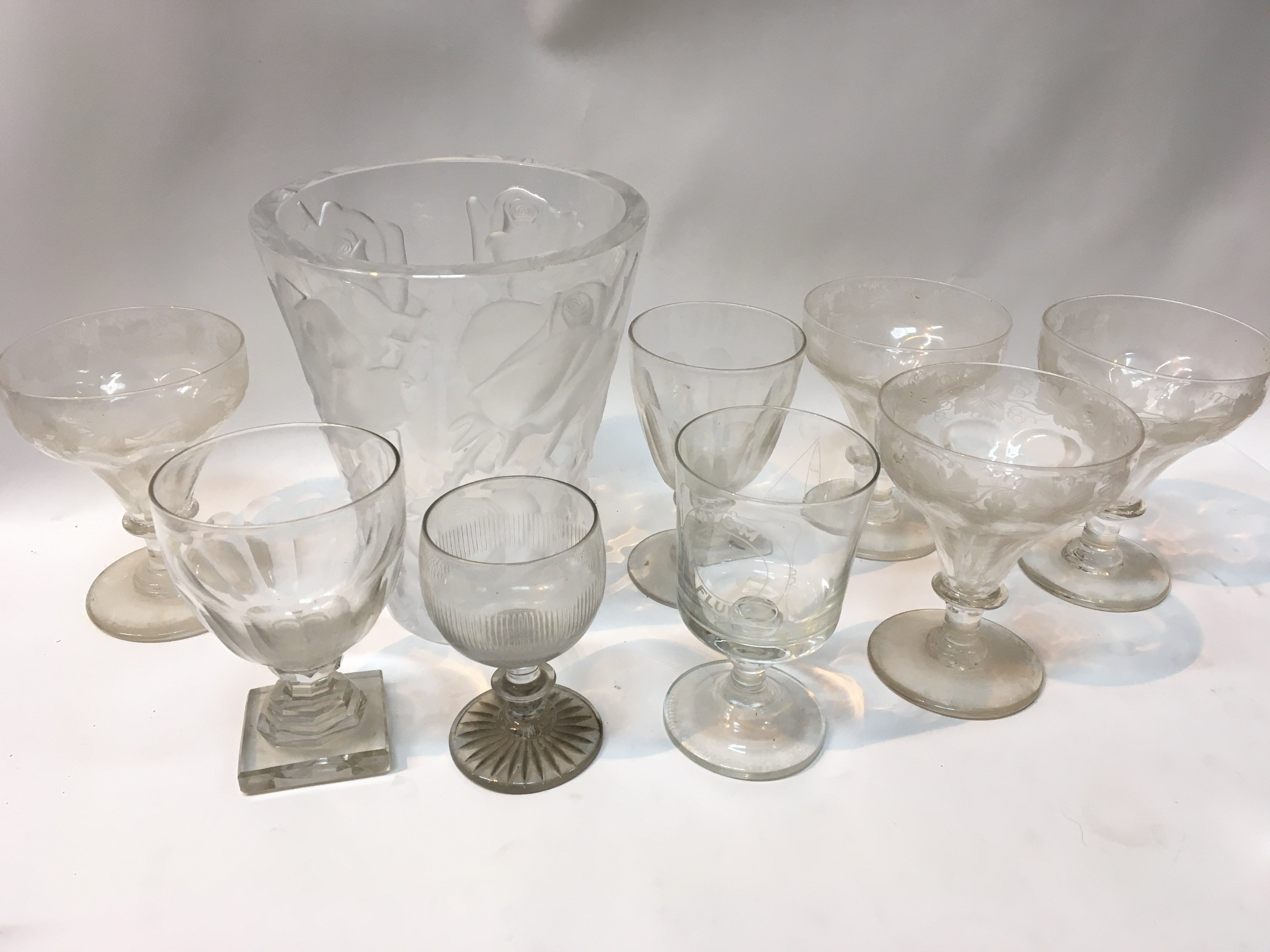 A Lalique style glass vase 19th Century rummers and etched glasses (a lot)