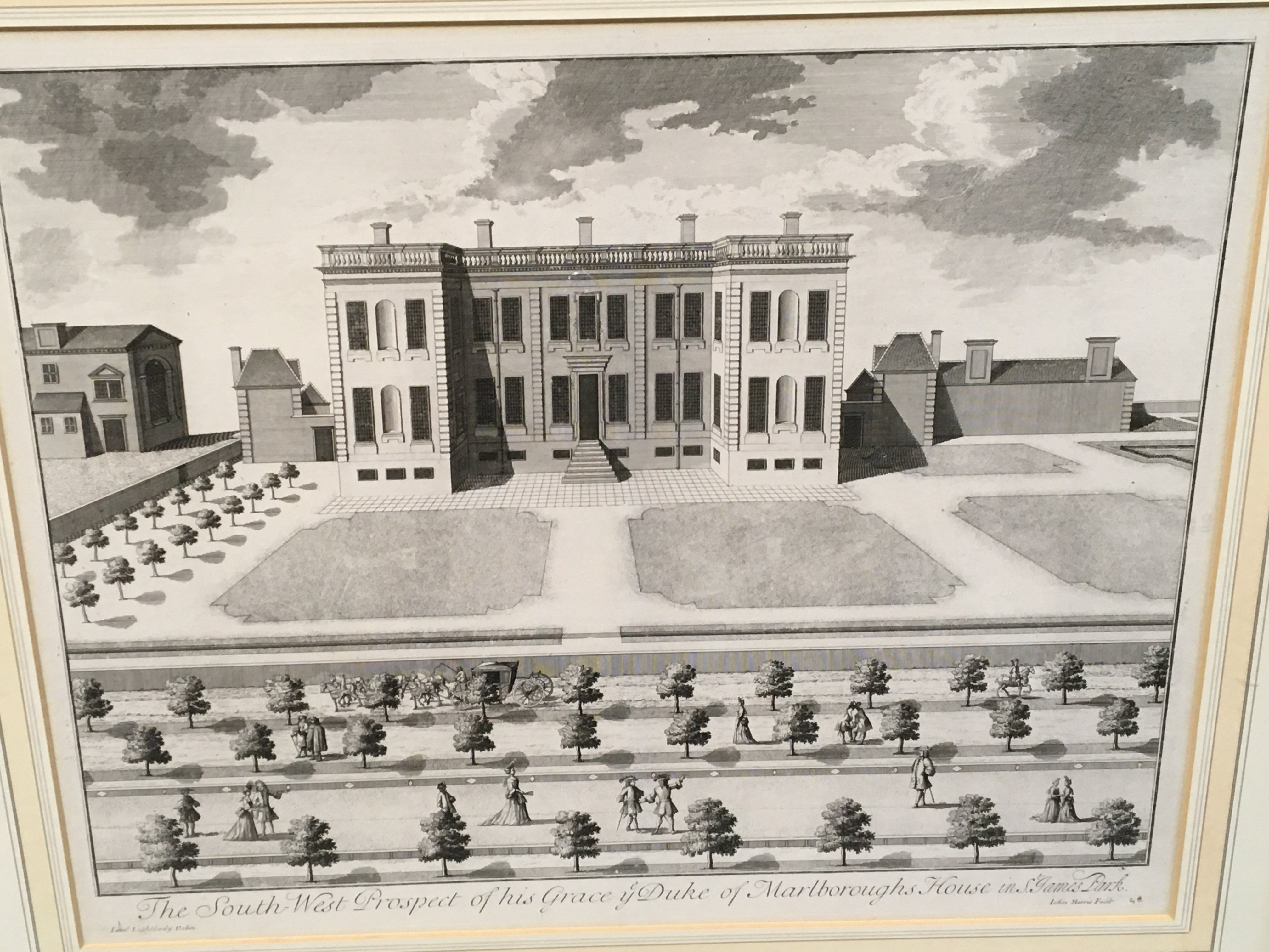 A large framed early 19th century print entitled The Royal Hospitall at Chelsey 11cmx 79cm a view of - Image 2 of 3