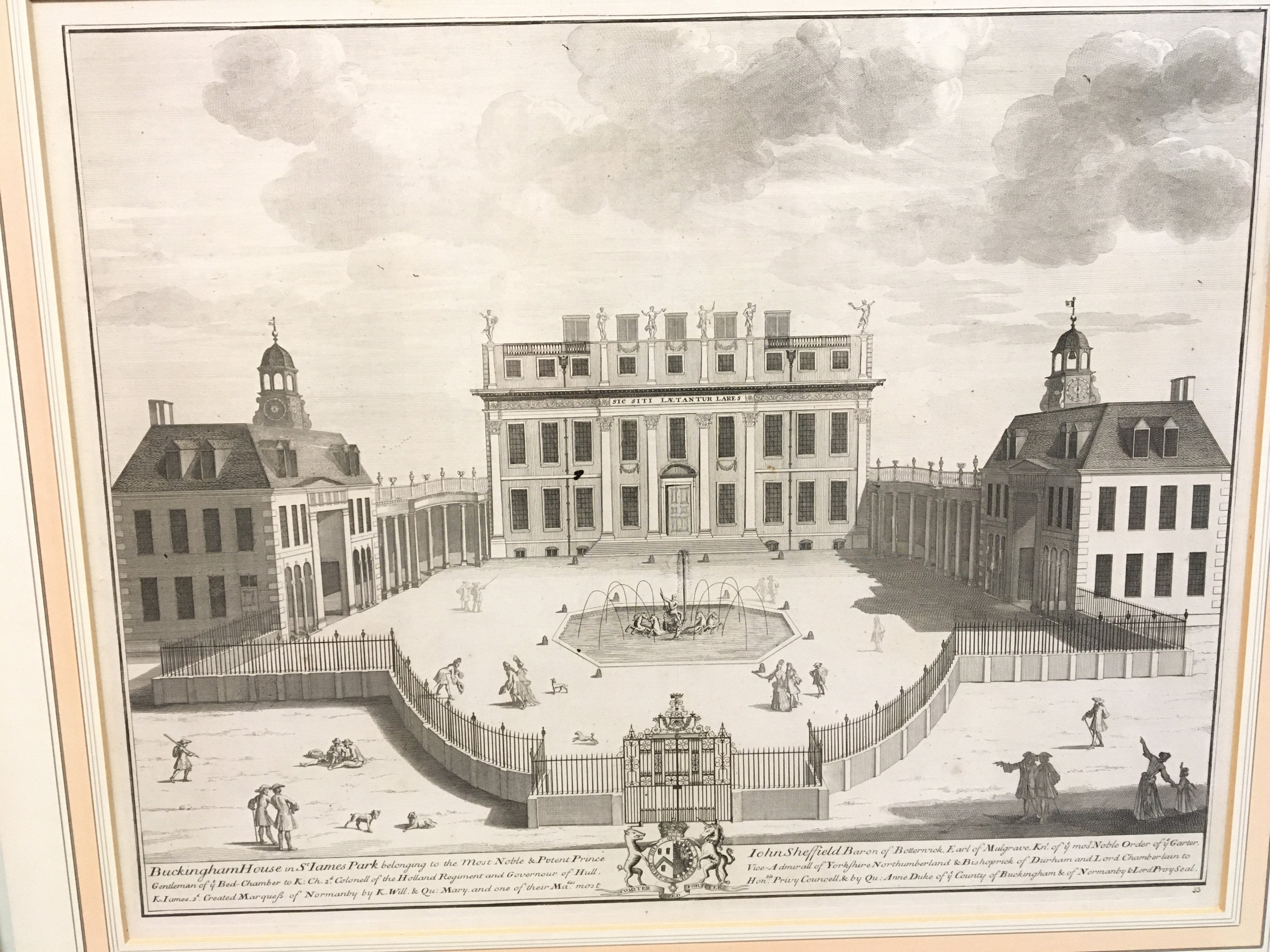 A large framed early 19th century print entitled The Royal Hospitall at Chelsey 11cmx 79cm a view of