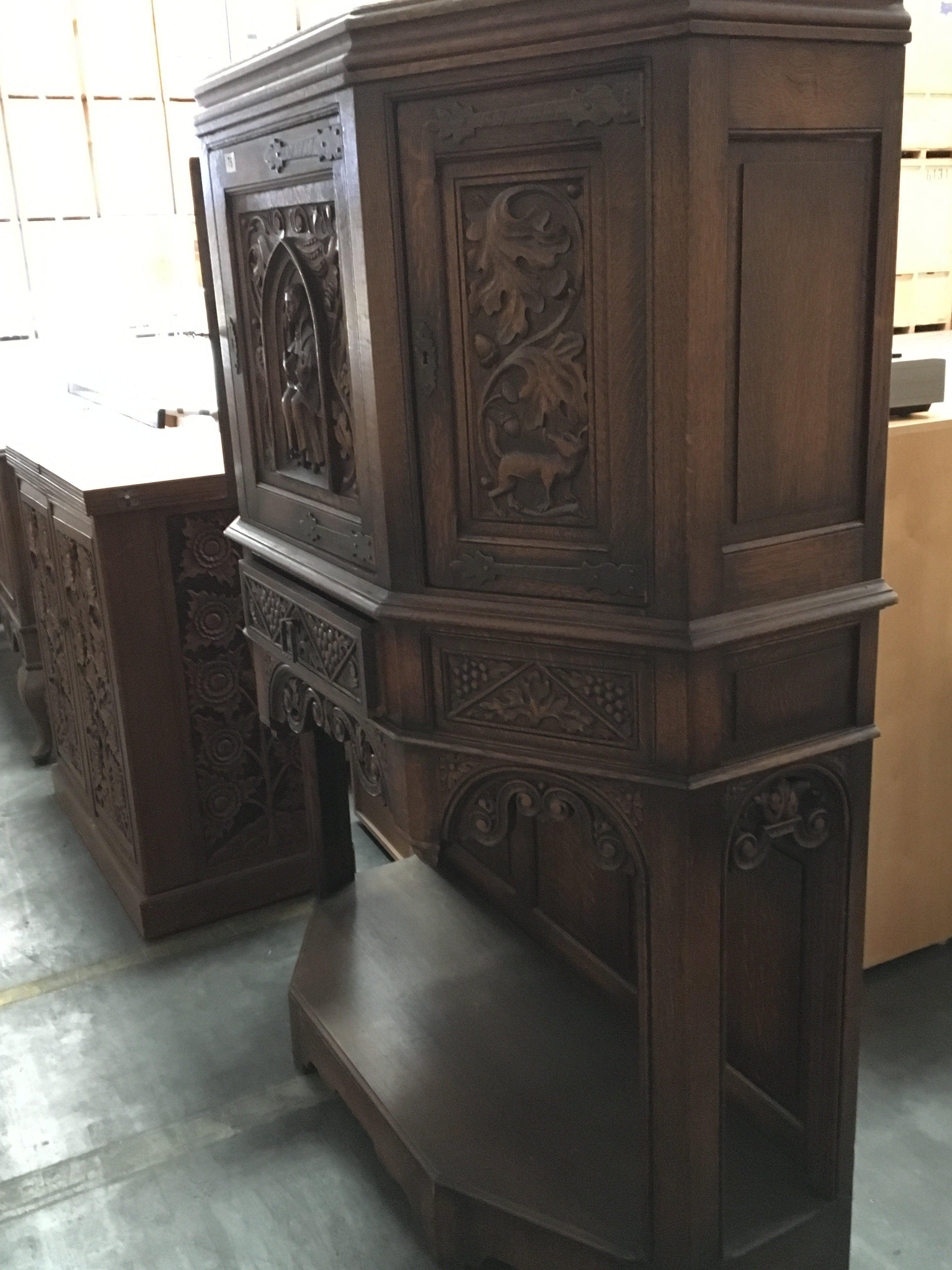 A Quality carved oak cabinet with panel doors above drawers with a carved frieze and open base Hight - Image 2 of 2