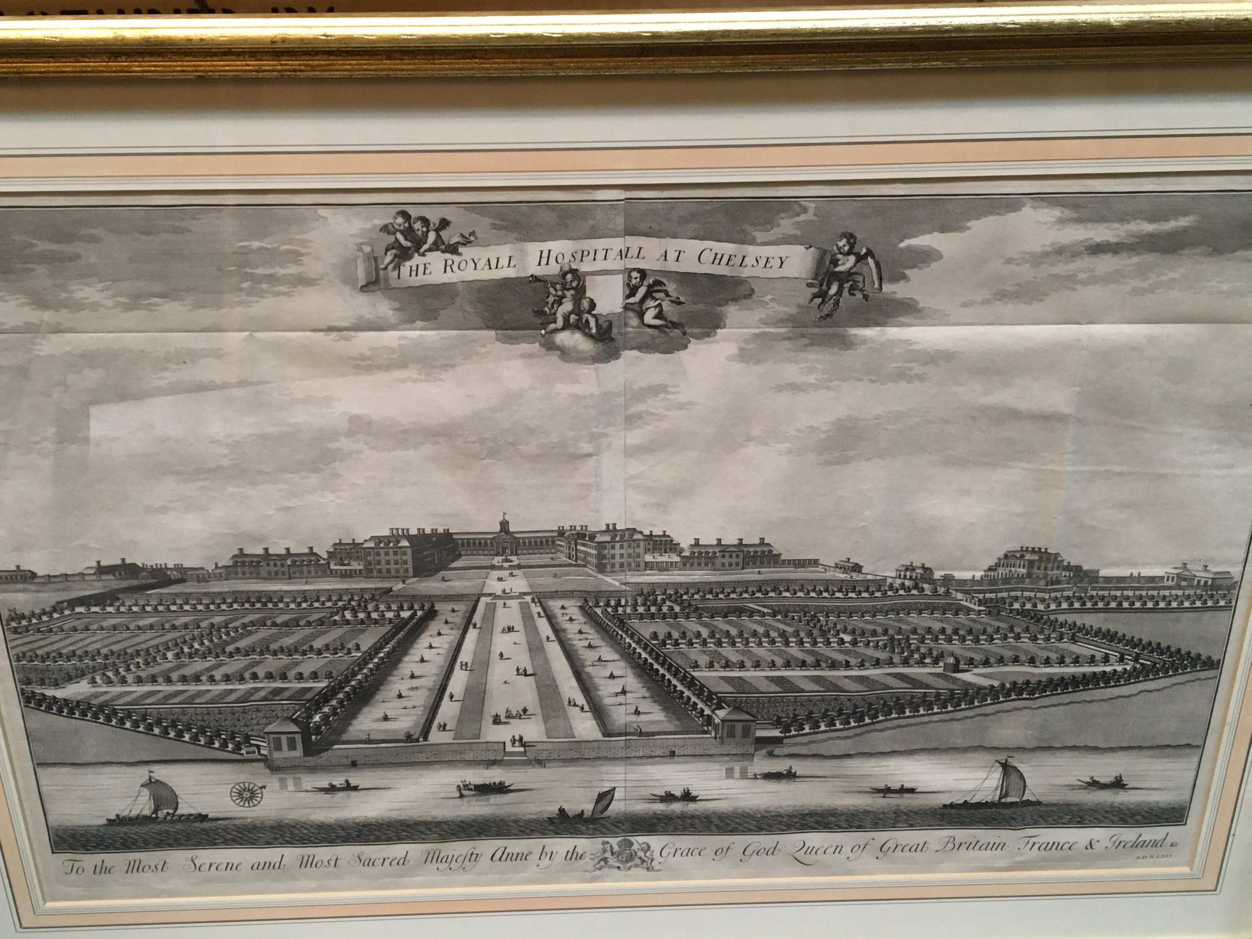 A large framed early 19th century print entitled The Royal Hospitall at Chelsey 11cmx 79cm a view of - Image 3 of 3