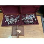 A vintage leather writing box, and 2 cases of cutlery..