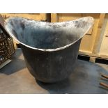 A large and unusual helmet shaped copper industrial size washing bowl. Hight 88cm diameter 93cm.