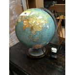 A modern chrome and metal Globe on stand. Hight 45cm