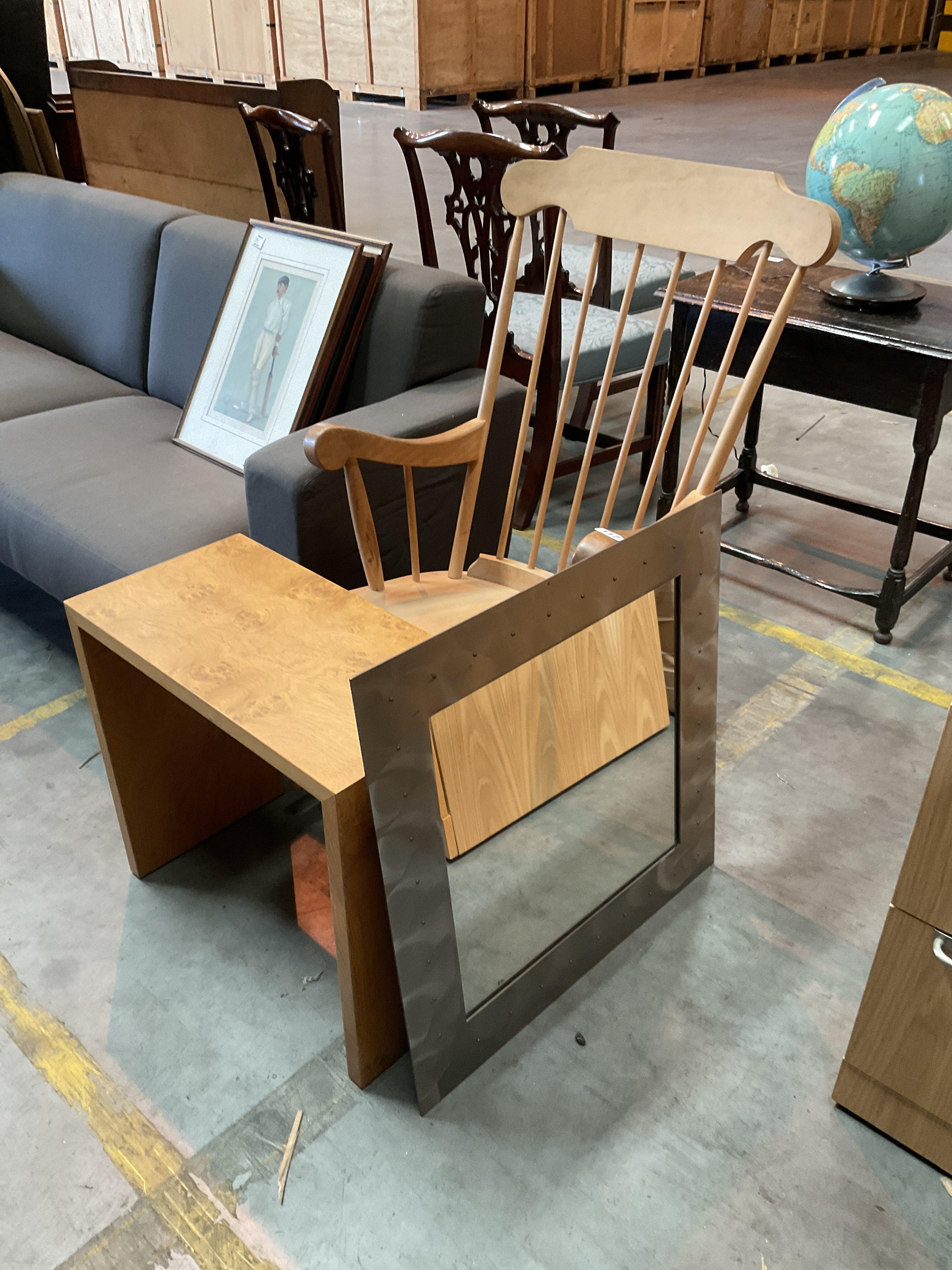 Pine rocking chairs burr wood side table, and brushed steel framed mirror.