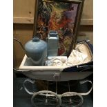A child's silver cross pram two Art Deco style plaster wall plaques an unusual oil painting by jan