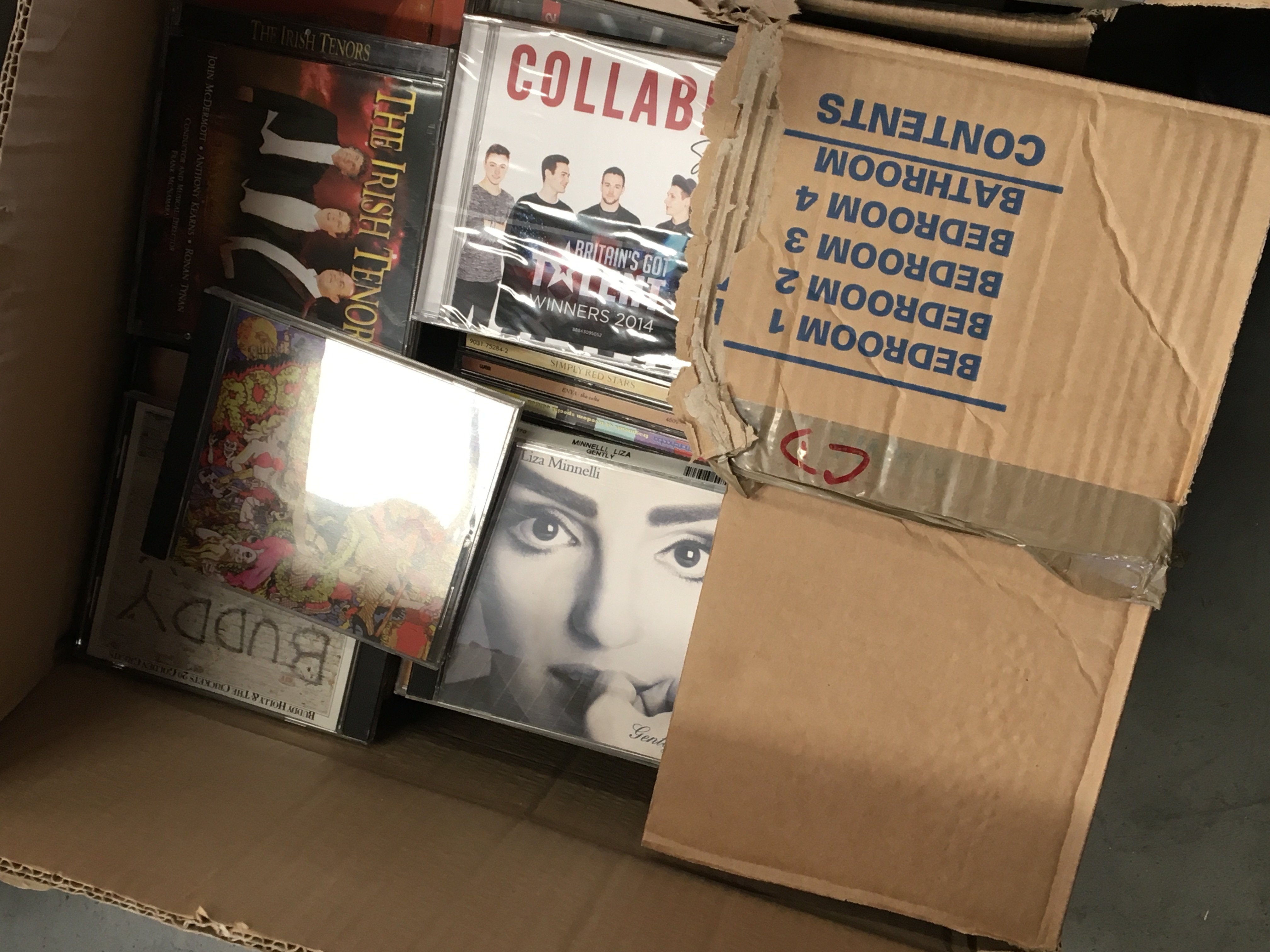Three boxes containing vintage computer games including a PS1 and other Intendo wii and music CDs - Image 3 of 3
