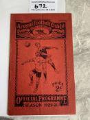 29/30 Arsenal v Newcastle Football Programme: Good