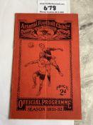 31/32 Arsenal v West Brom Football Programme: Good