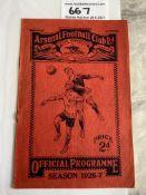 26/27 Arsenal v West Brom Football Programme: Good