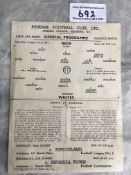 1947 Arsenal Public Practice Match Football Progra