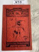 29/30 Arsenal v Derby Football Programme: Fair con