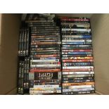 A large box of DVDs and DVD box sets.
