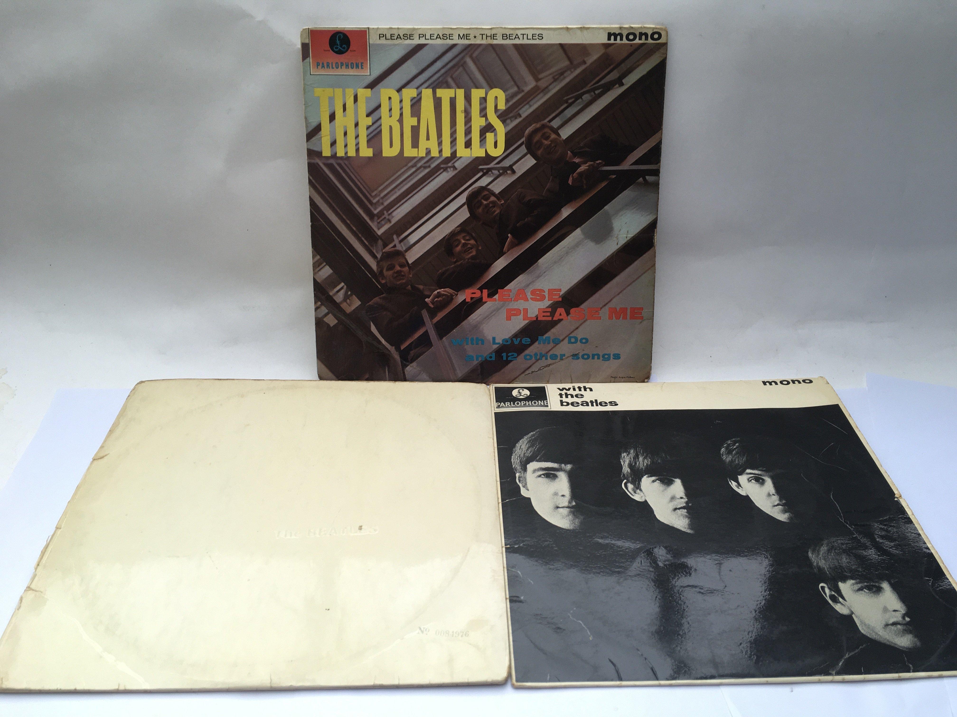 Three early UK pressings of Beatles LPs comprising