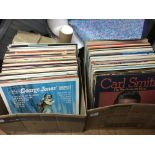 Two boxes if country music LPs including Hank Will