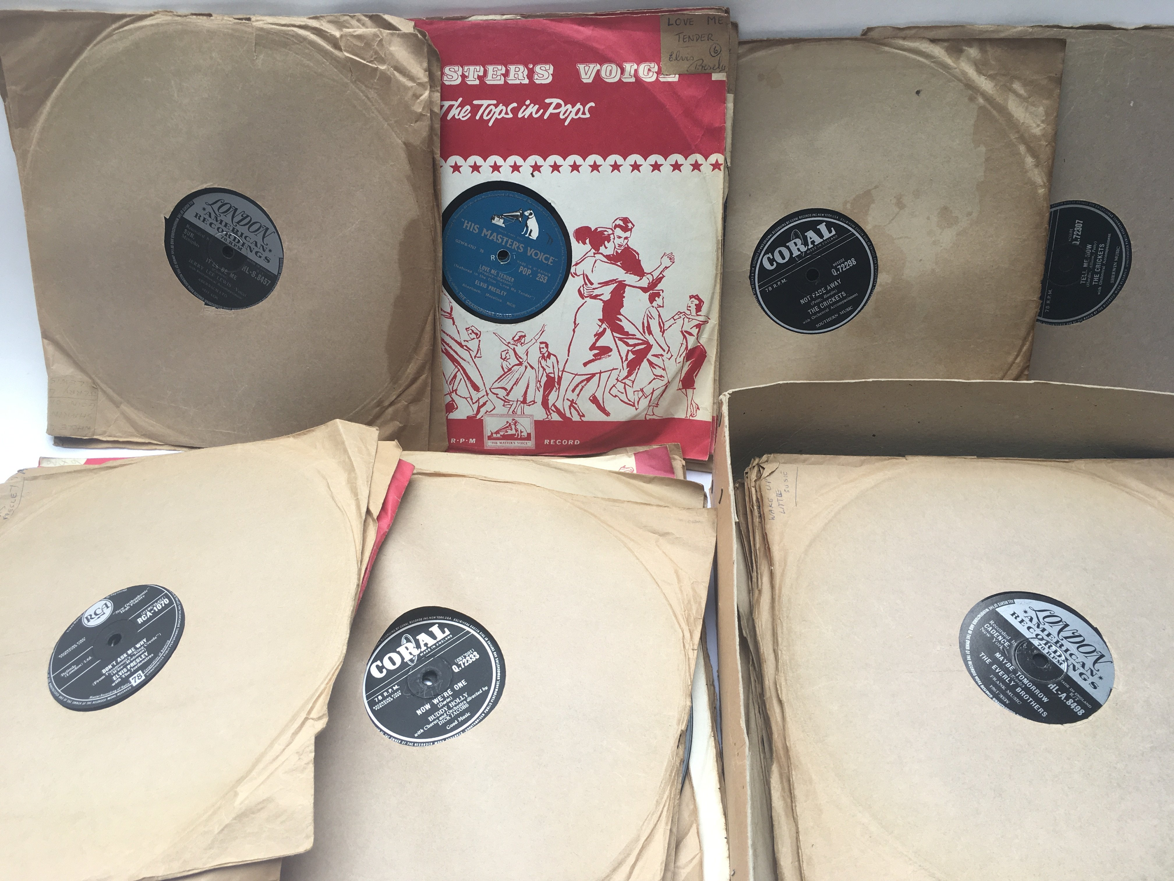 A collection of mainly rock n roll 78s by various