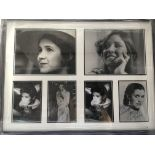 A framed and glazed display of Carrie Fisher monoc