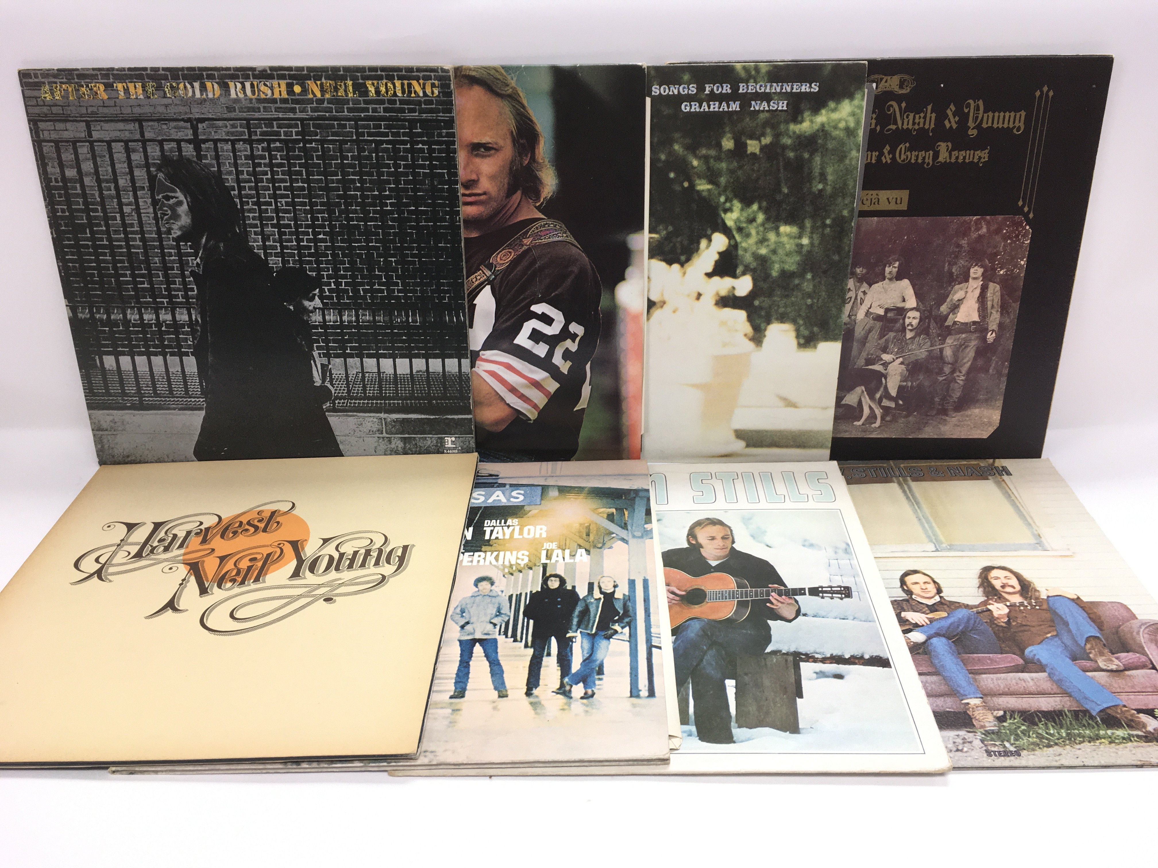 Eight Crosby, Stills, Nash & Young related LPs.