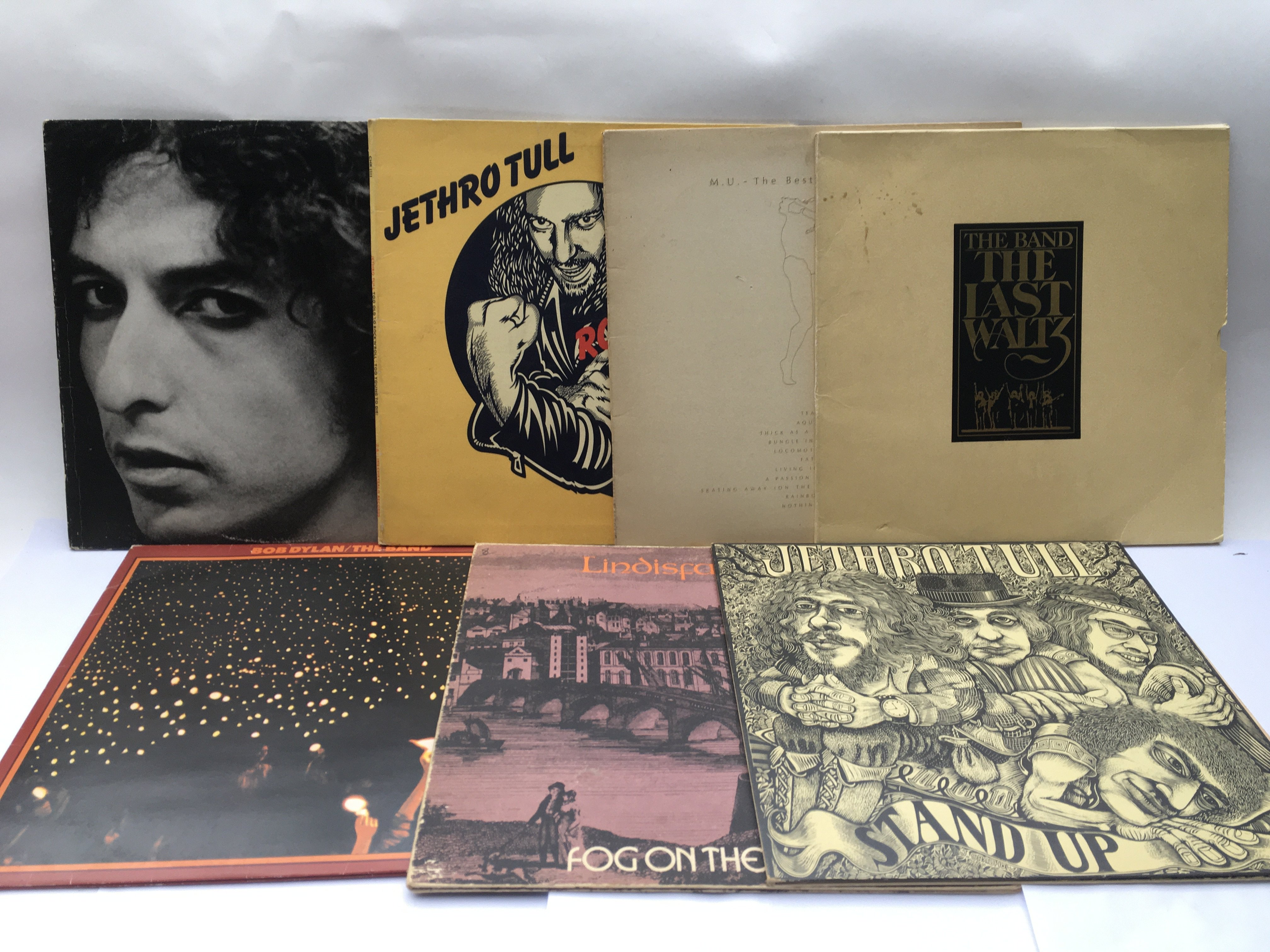 Seven LPs by Bob Dylan, The Band, Jethro Tull and