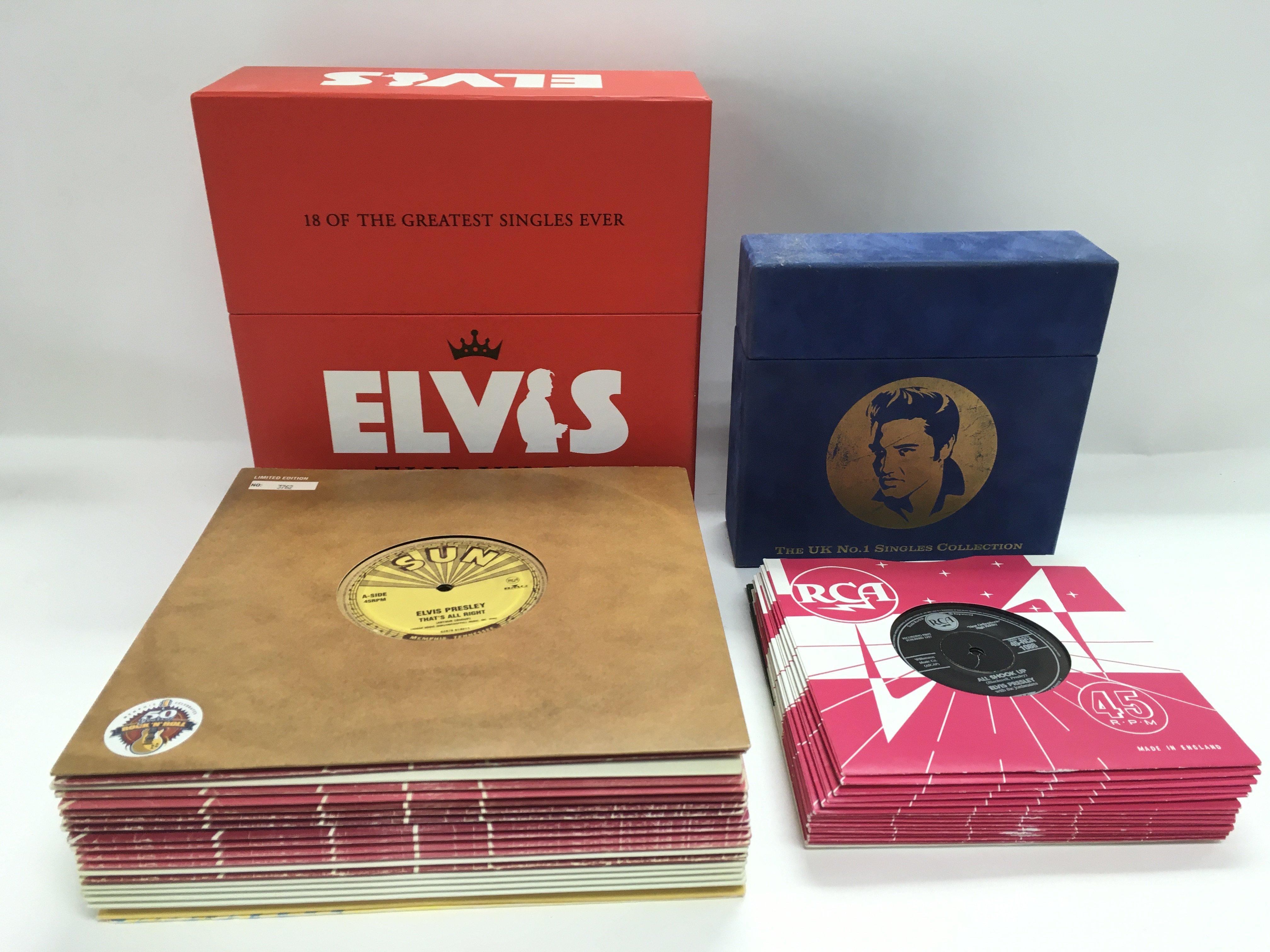 Two Elvis Presley singles box sets comprising a li