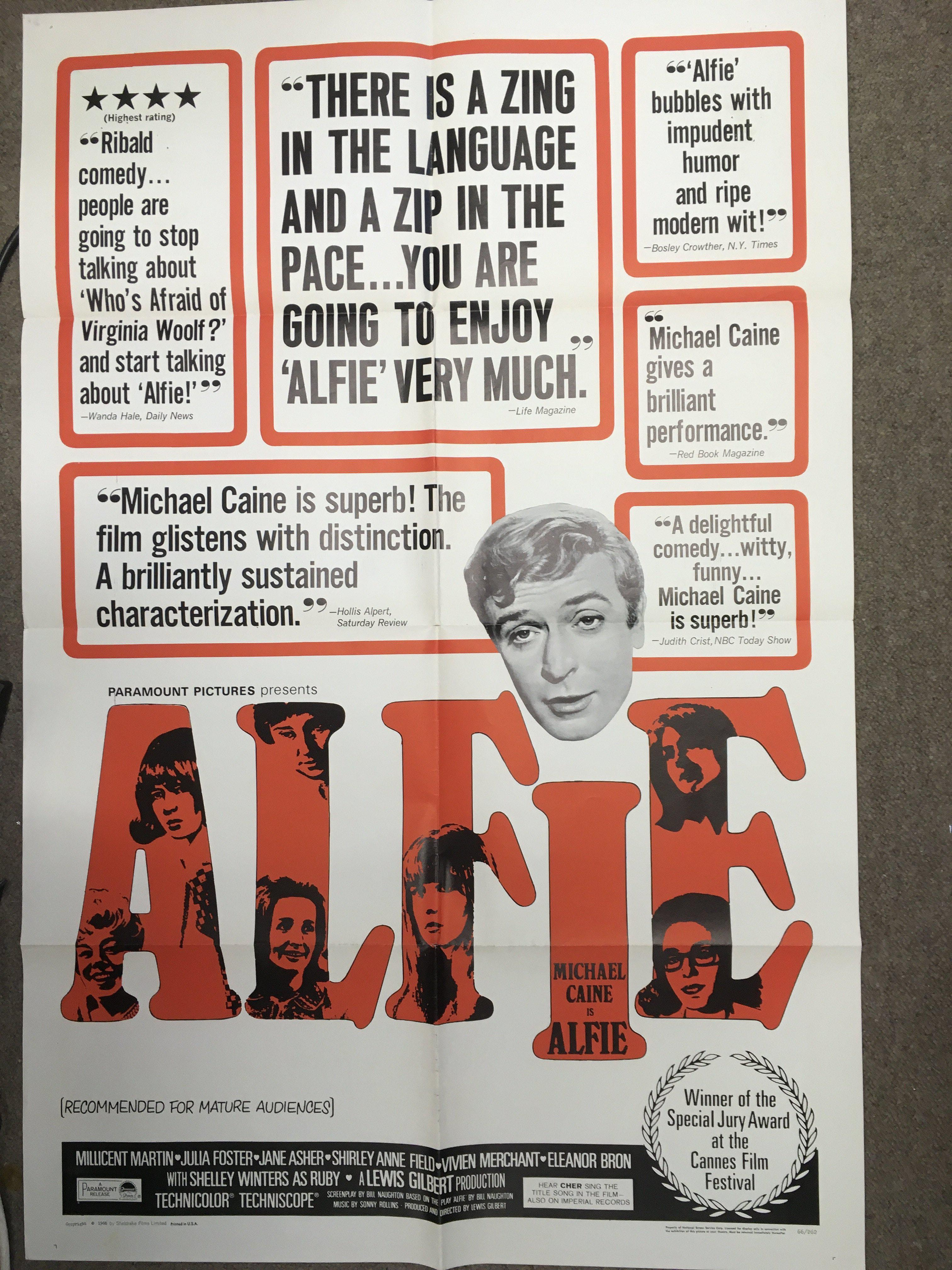 A US one sheet film poster for 'Alfie' starring Mi