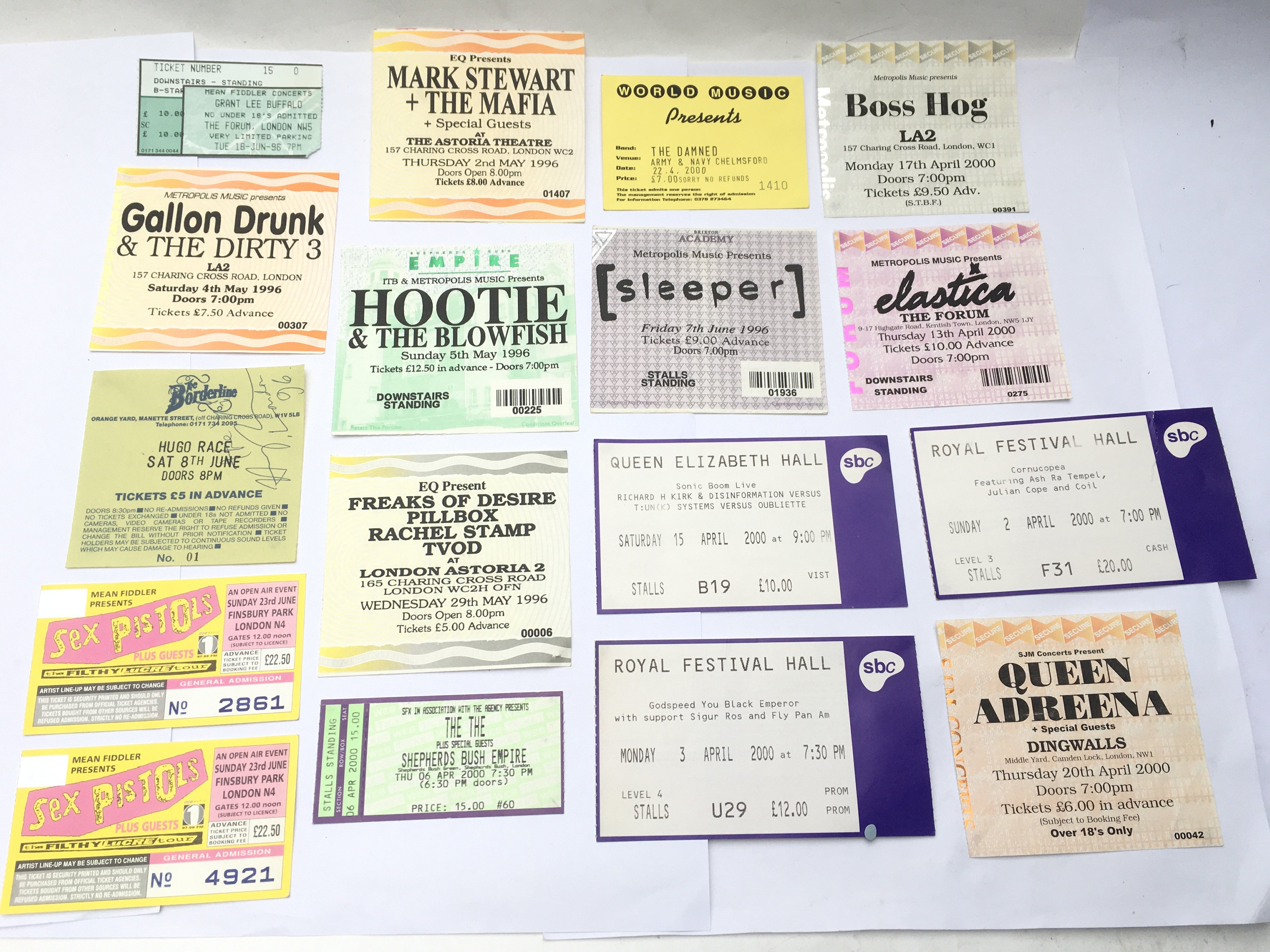 A small collection of gig tickets including two fo