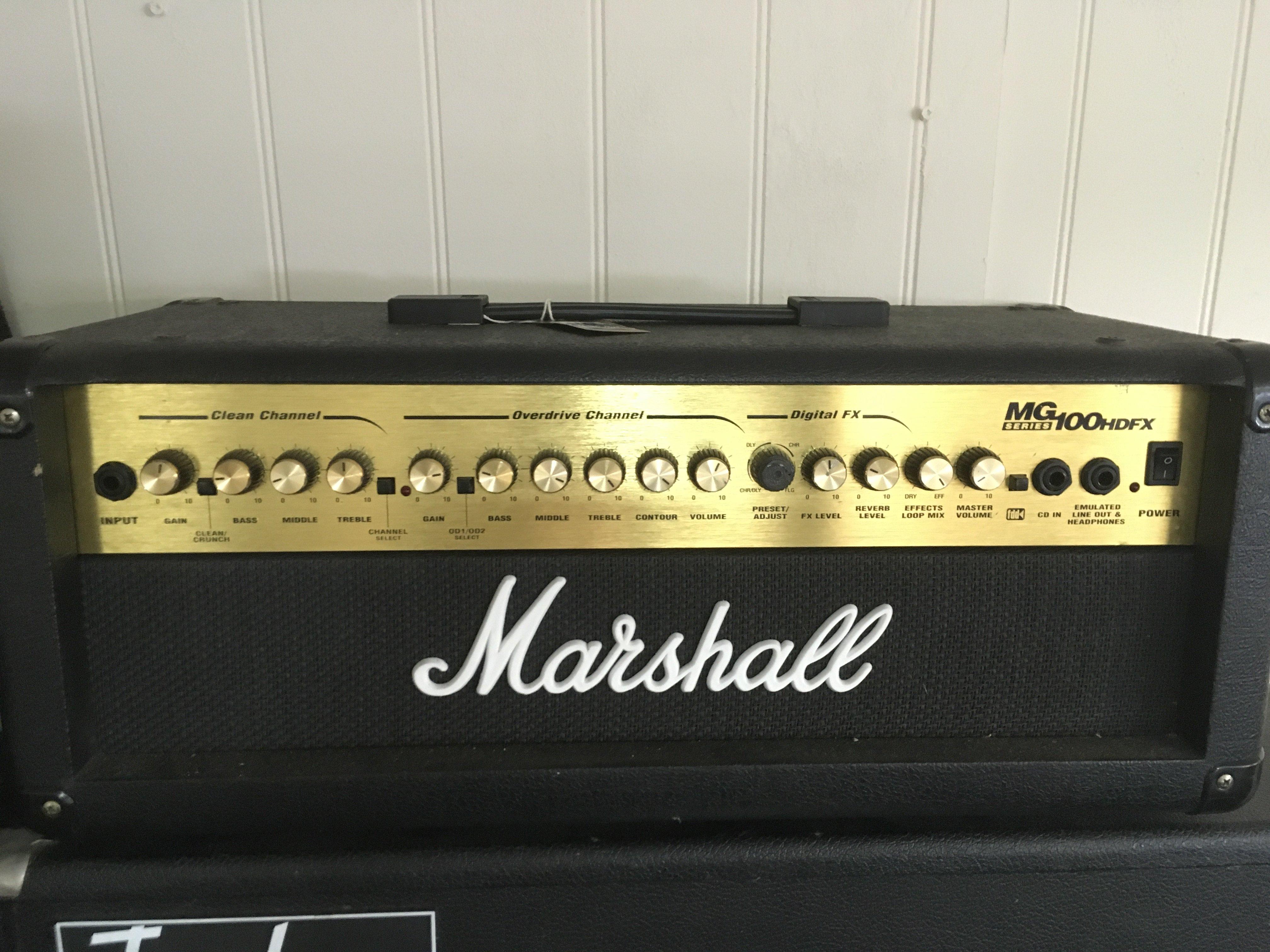 A Marshall MG Series 100 HDFX amplifier head.