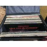 A record box of LPs by various artists including T