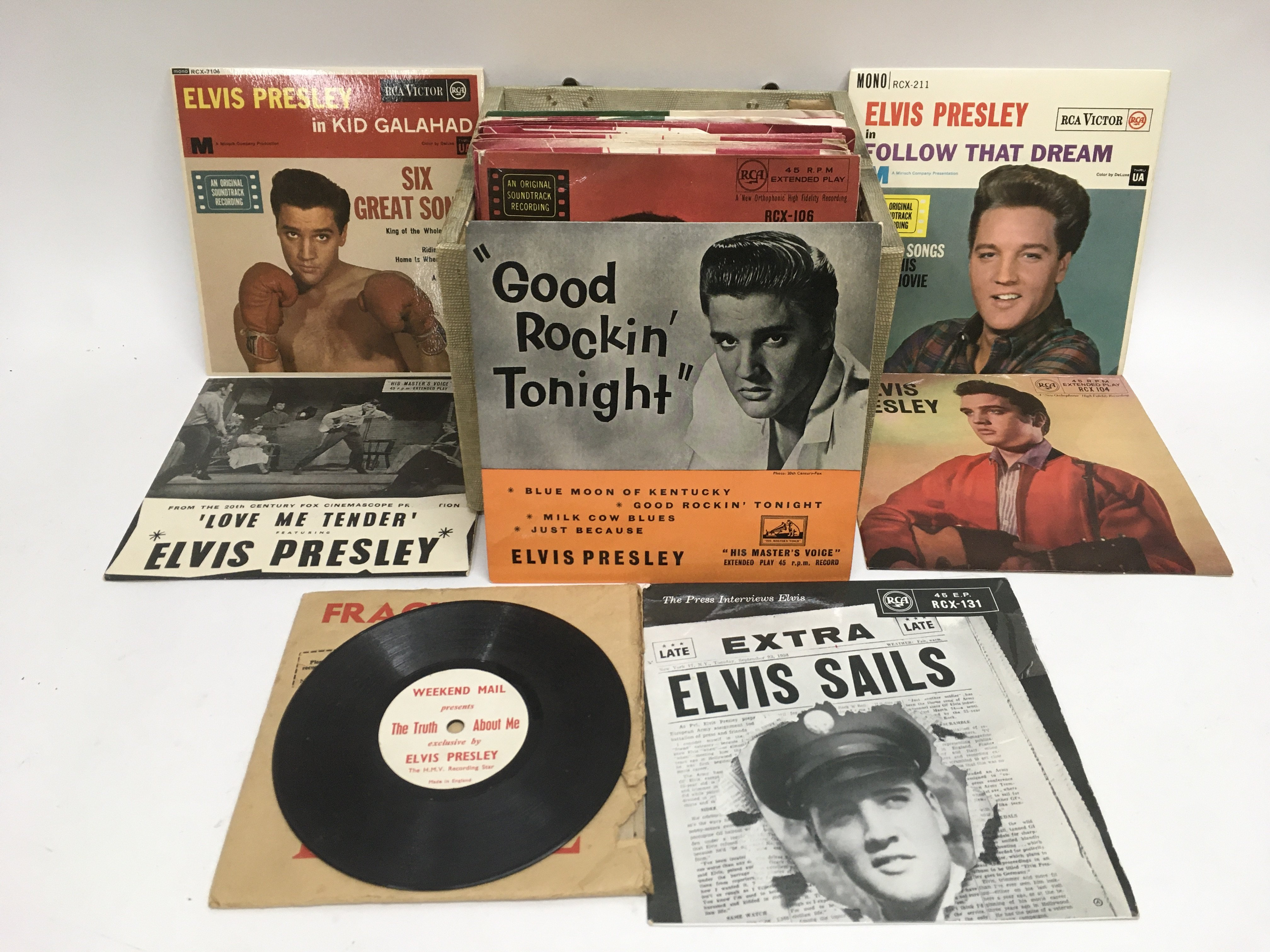 A record case of Elvis Presley EPs and 7inch singl