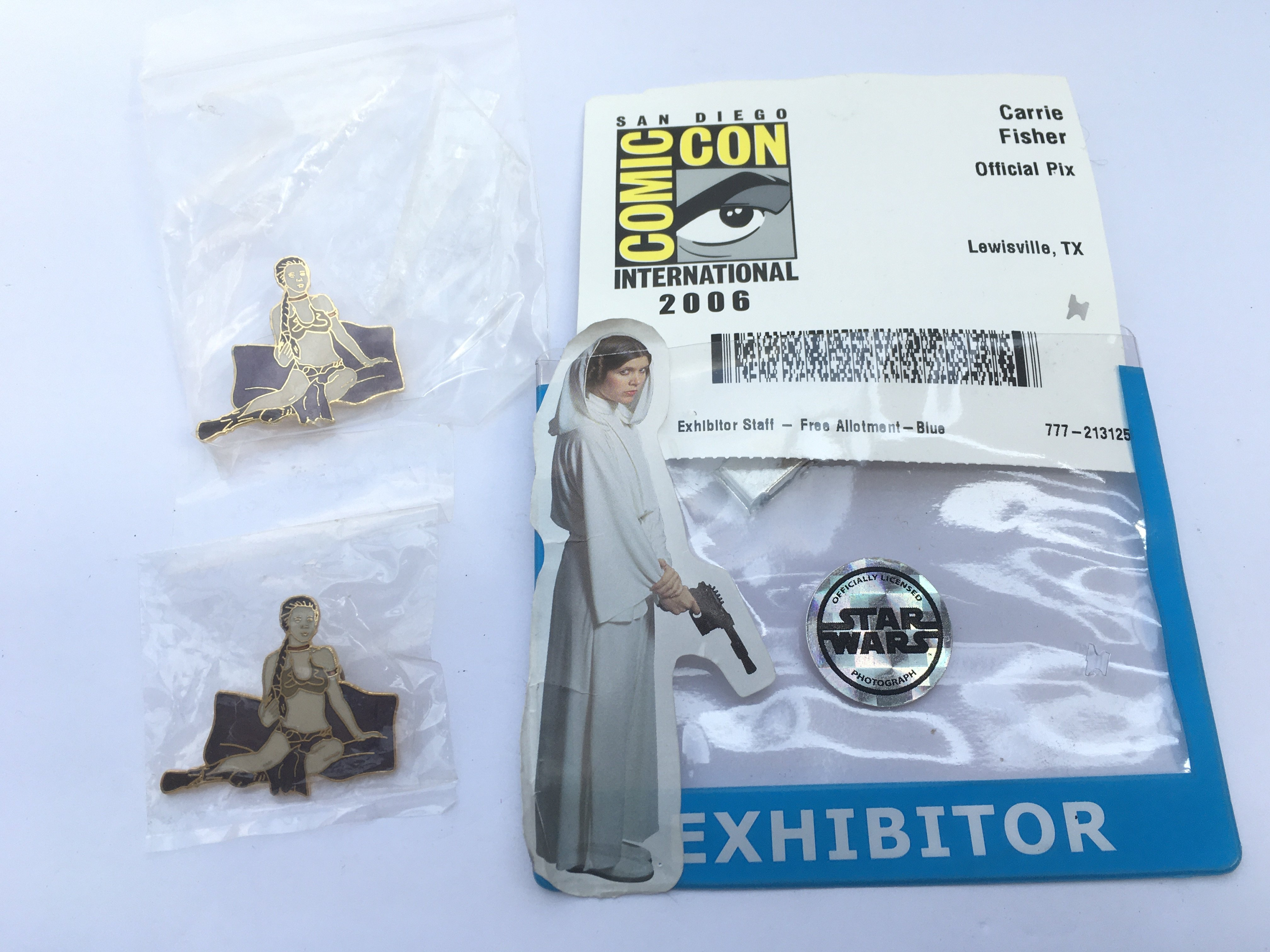 Carrie Fisher's Star Wars exhibitor pass at the 20