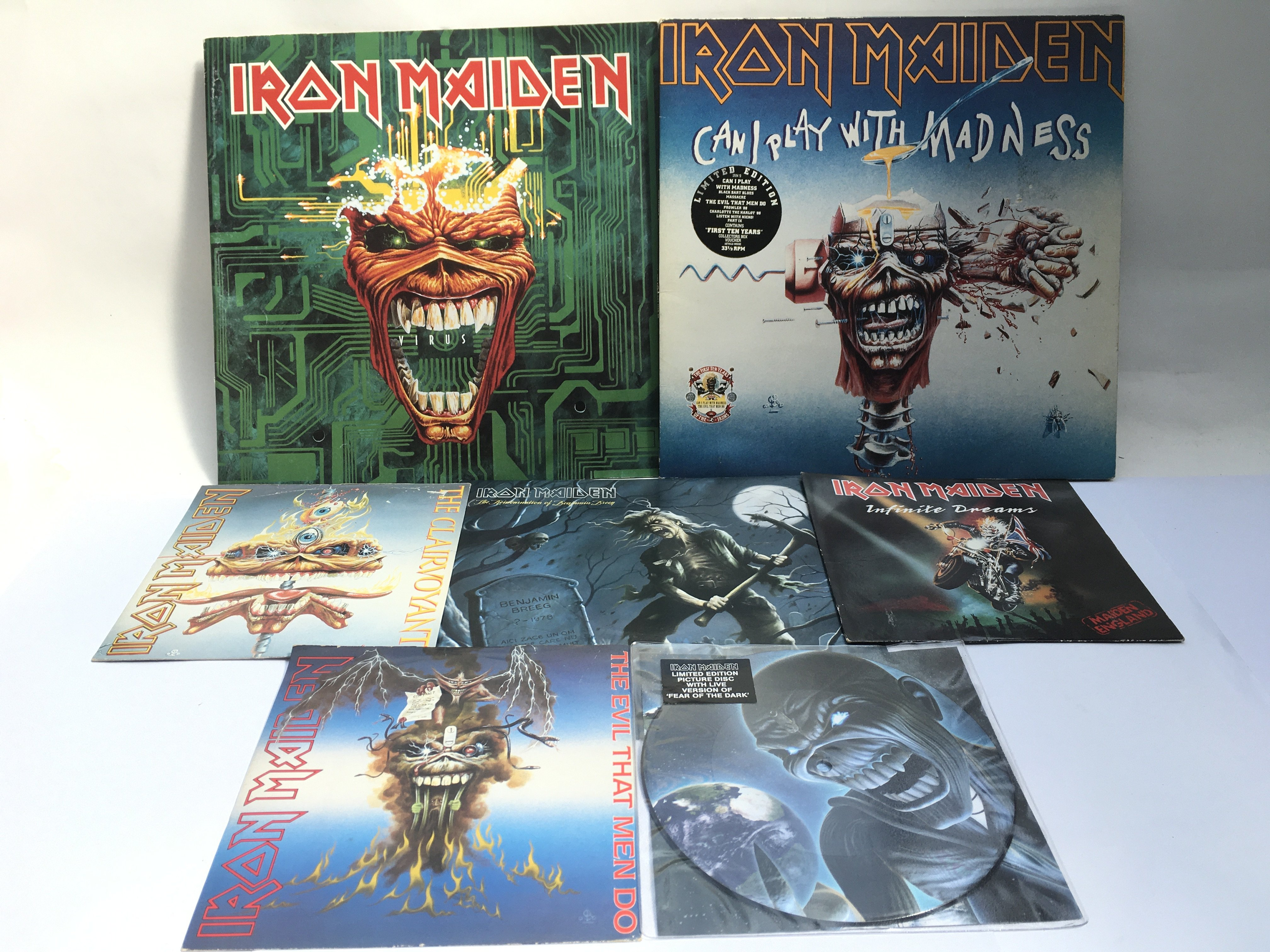 An Iron Maiden collection of LPs, picture discs, 7