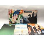 Five prog rock LPs by various artists including Wi