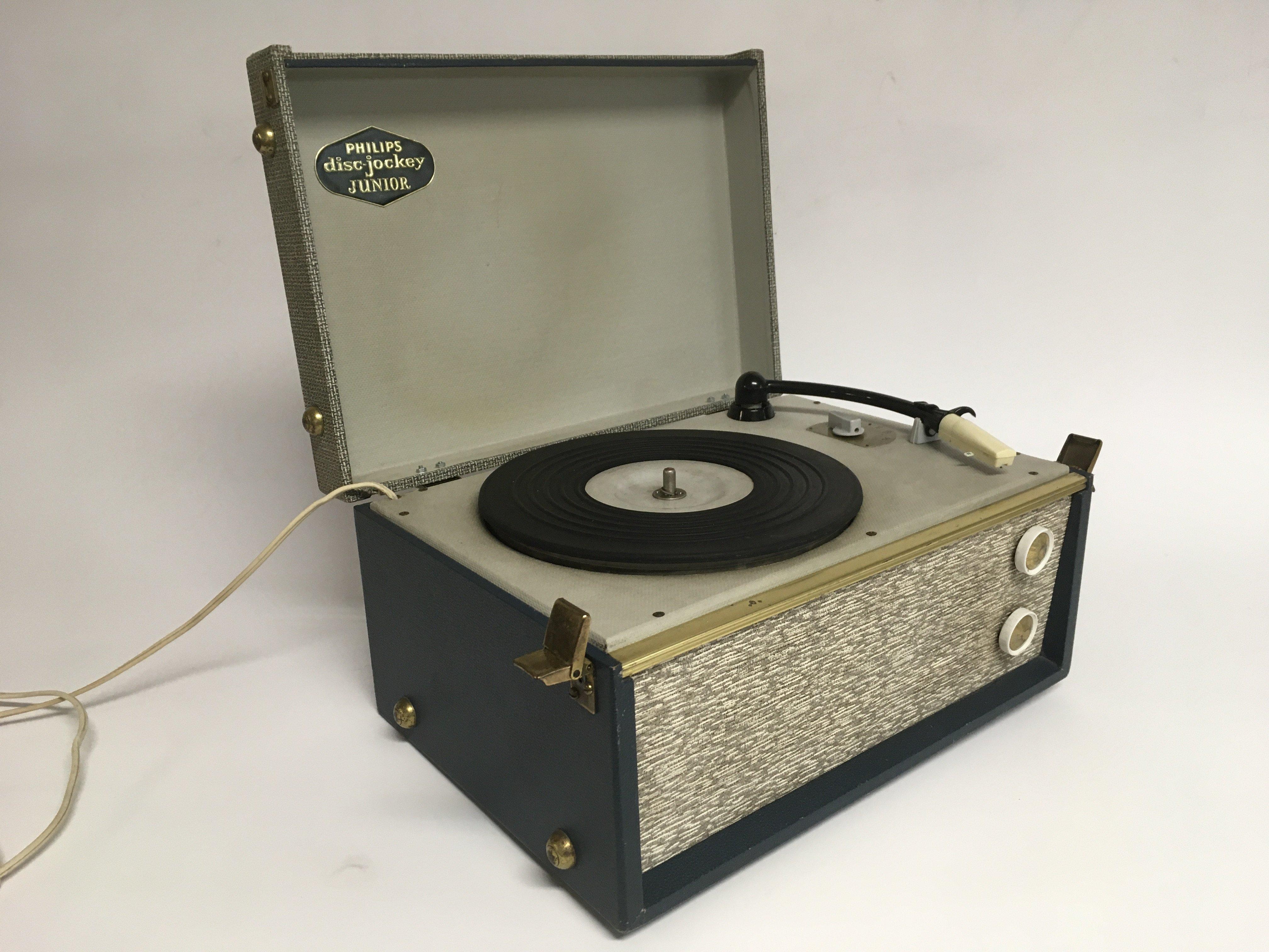 A vintage Philips Disc Jockey Junior portable reco
