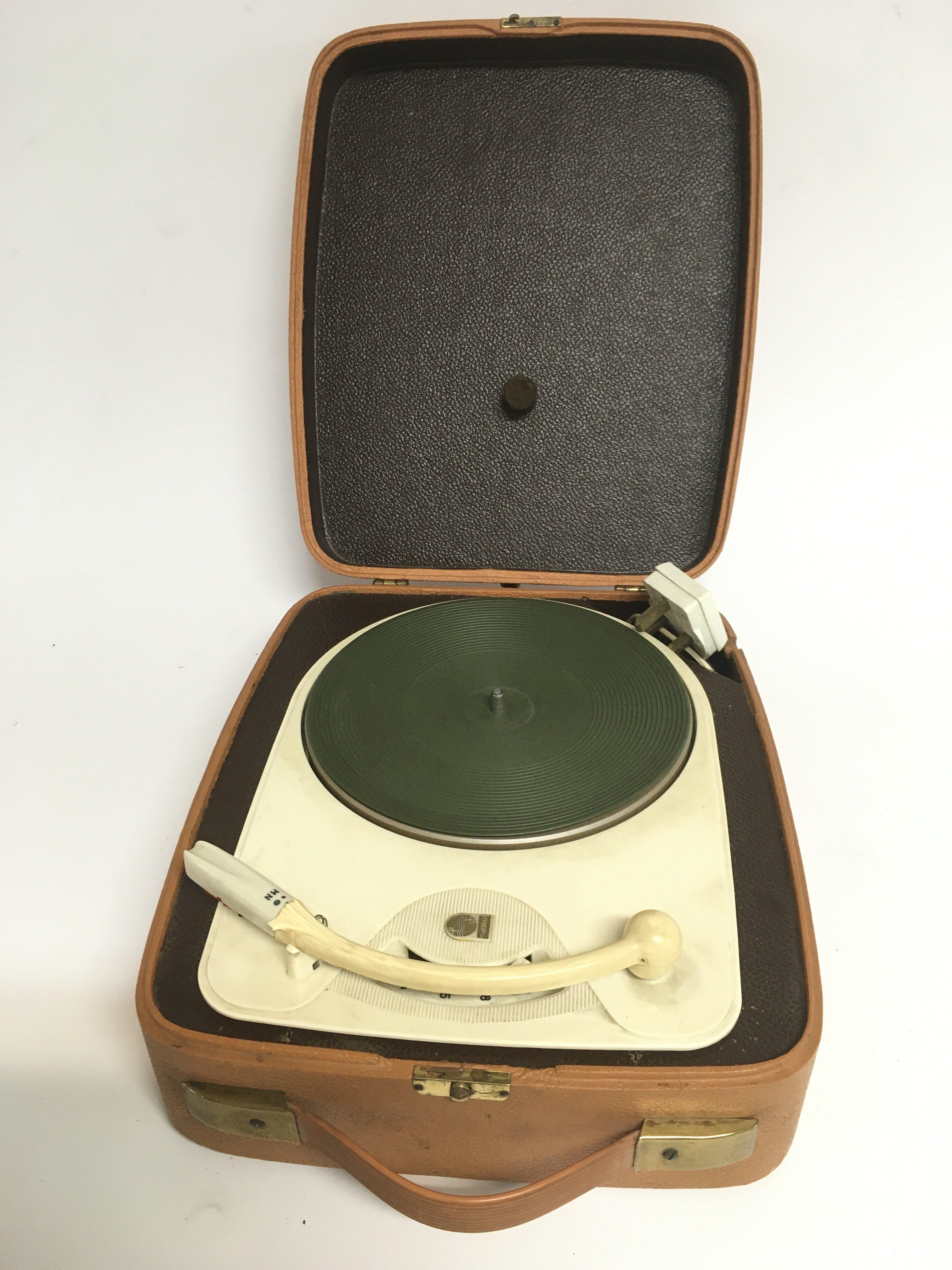A circa 1950s Philips single play portable record