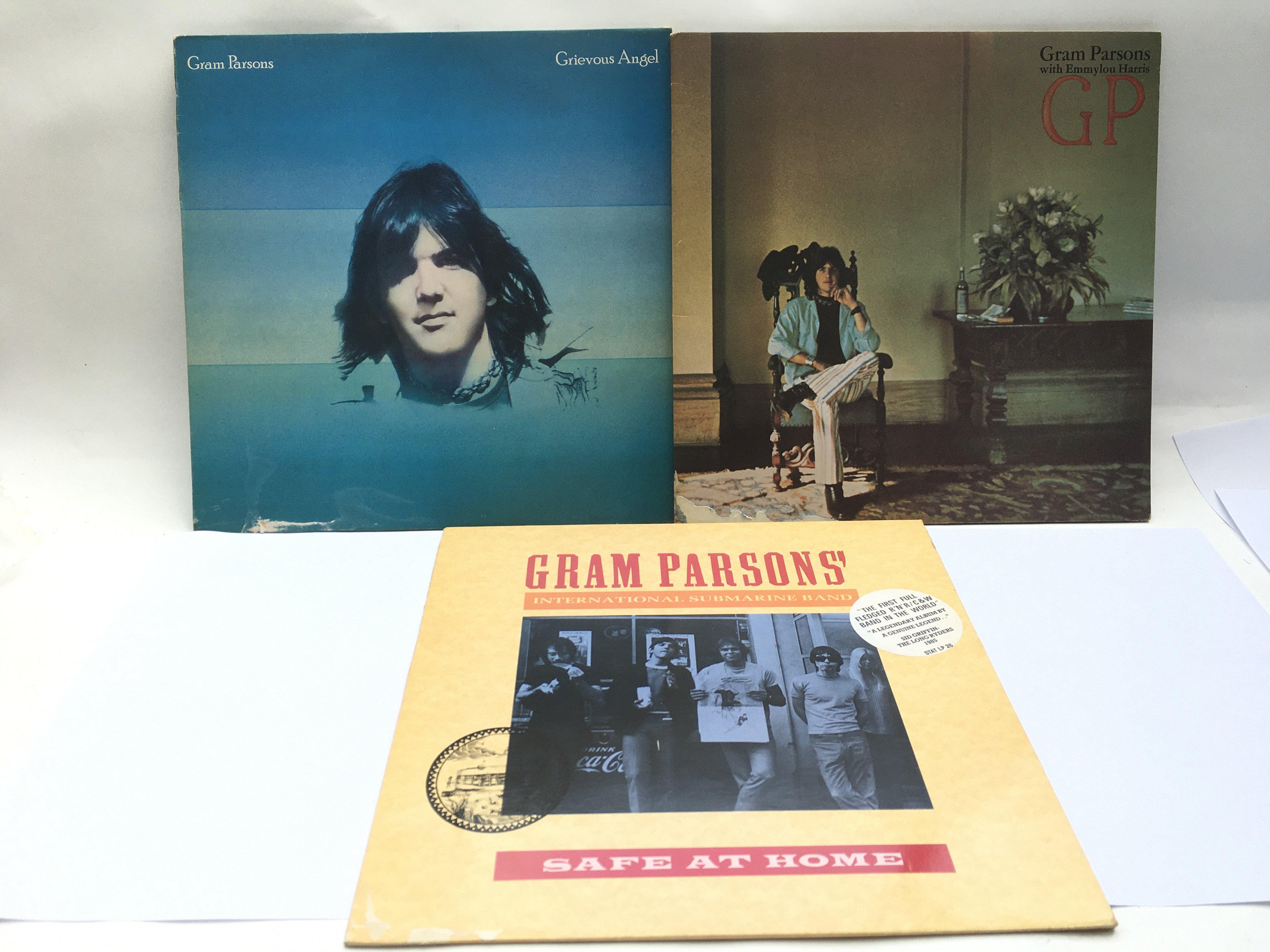 Three Gram Parsons LPs comprising 'Grievous Angel'