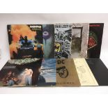 Ten rock LPs by various artists including Deep Pur