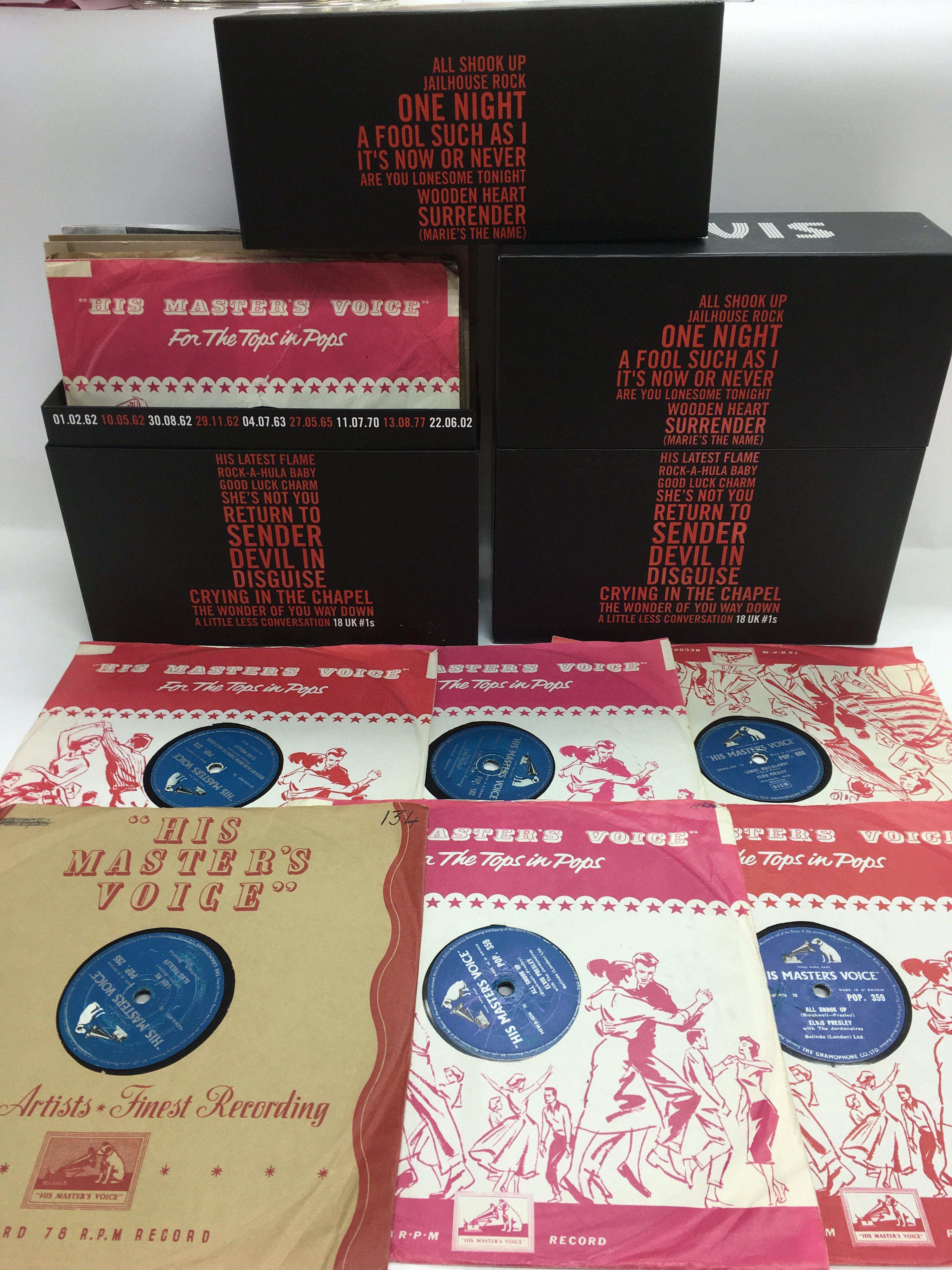 An Elvis Presley 18 UK #1s vinyl box set plus a co