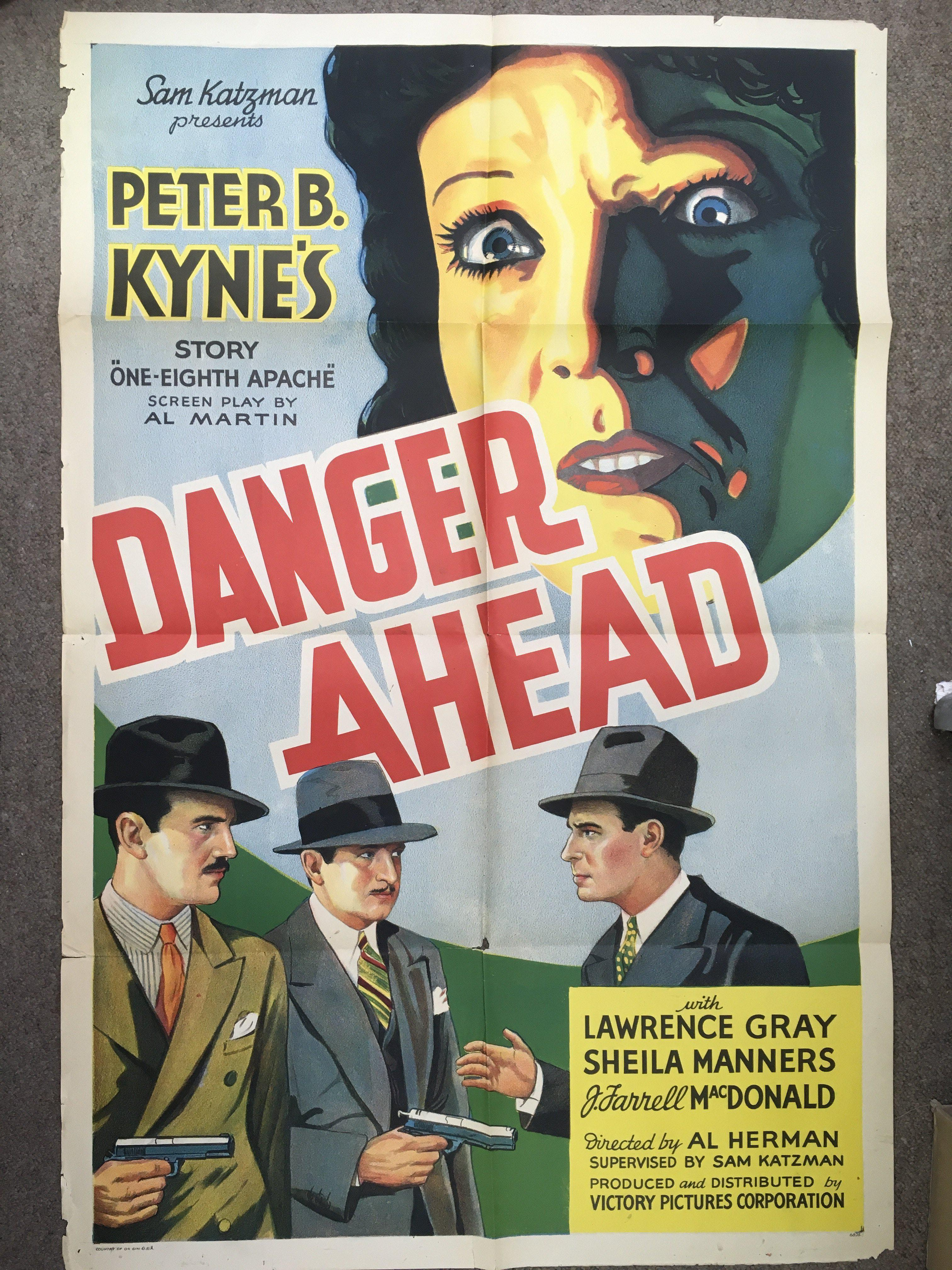 A rare US one sheet film poster for 'Danger Ahead'