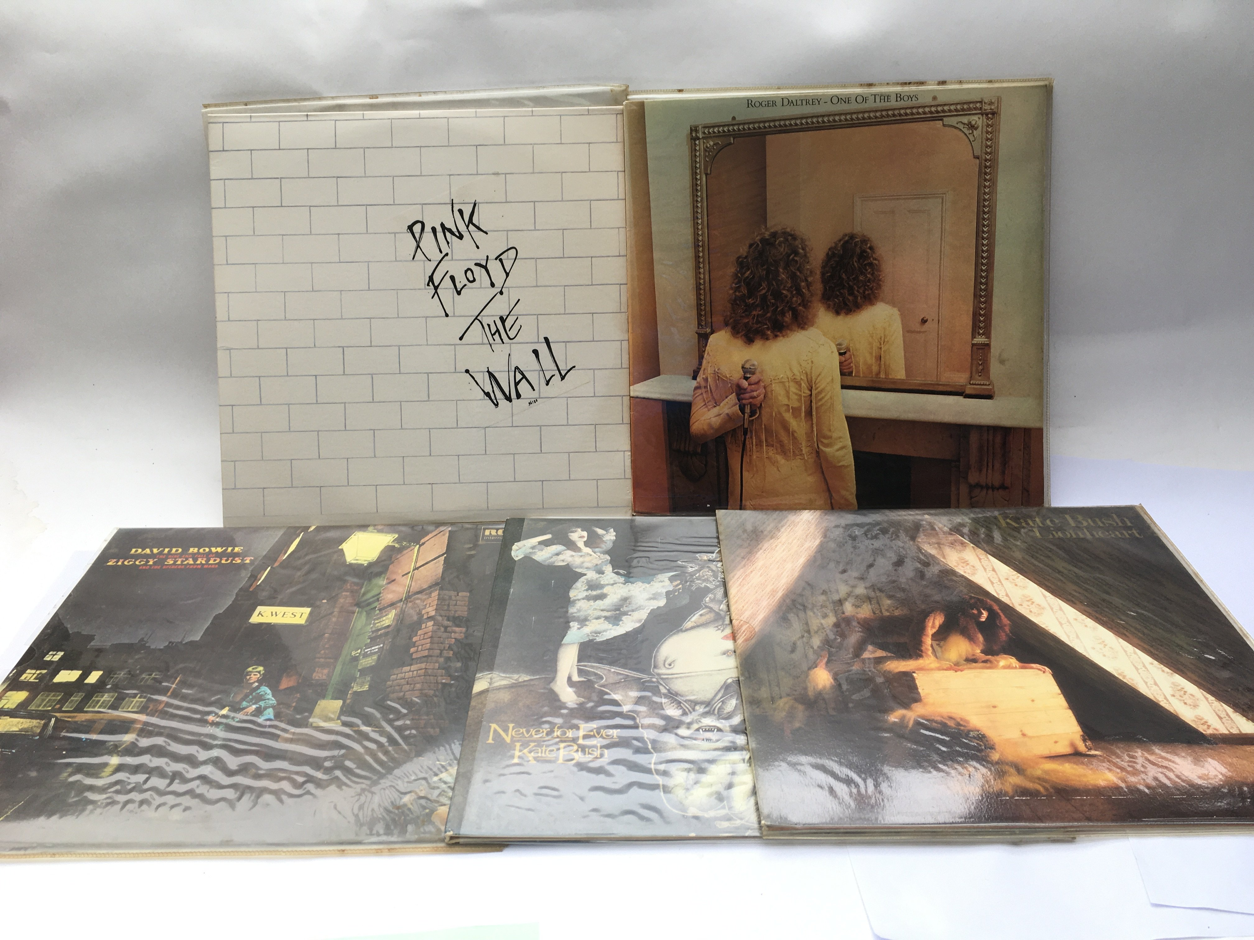 Five LPs including 'The Wall' by Pink Floyd, 'Zigg