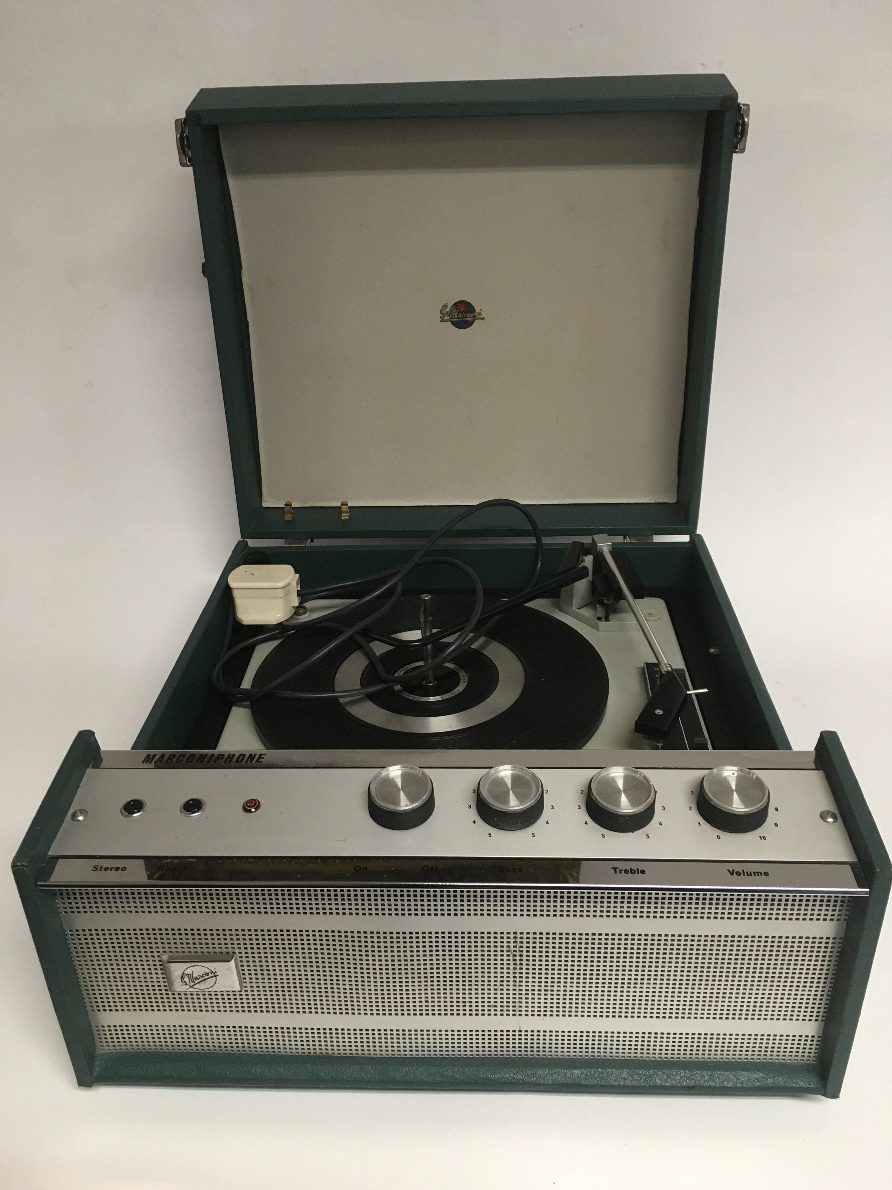 A vintage Marconiphone autochanger record player.