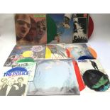 A collection of coloured vinyl and picture disc LP