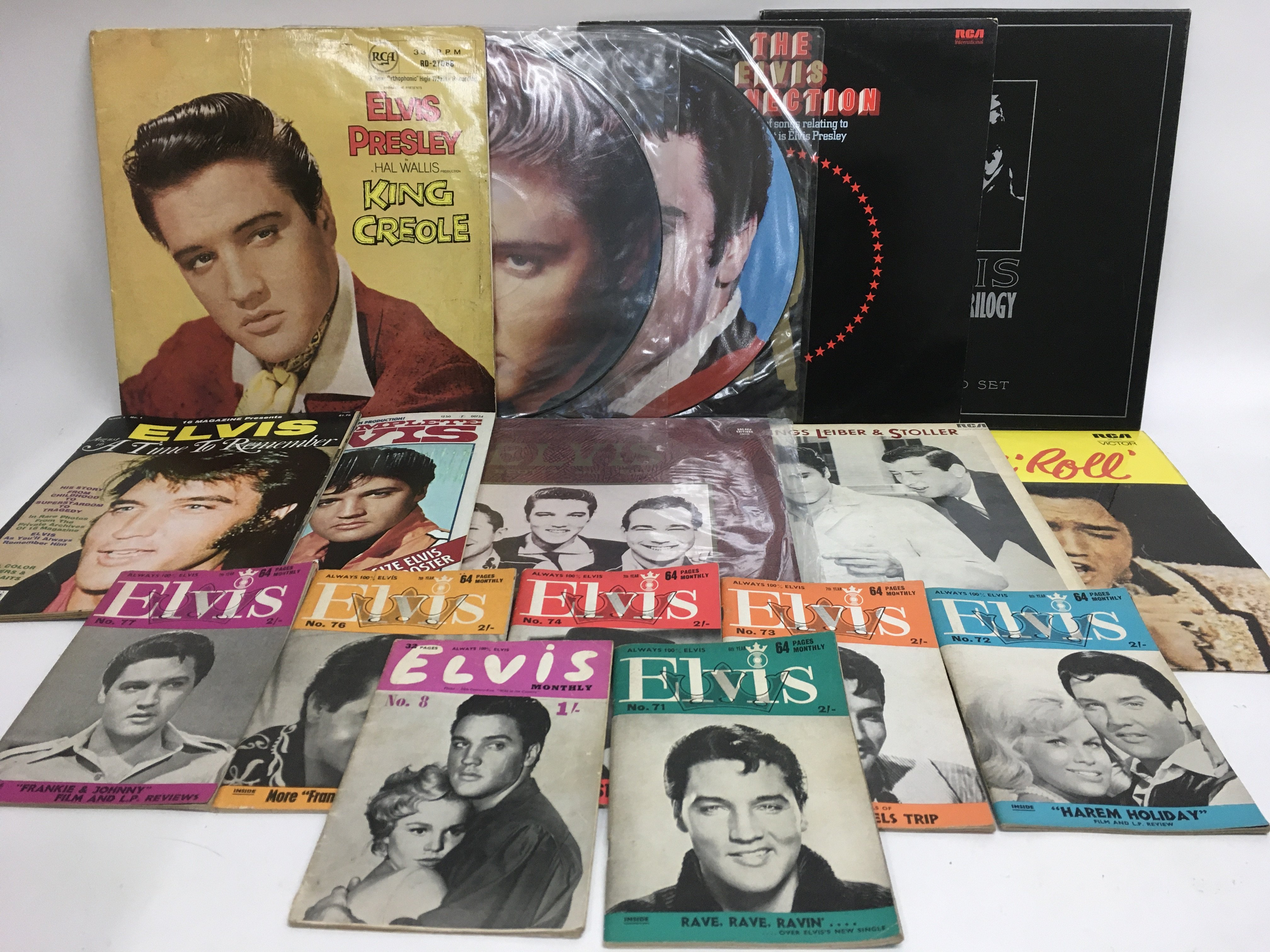 A collection of Elvis Presley LPs, picture discs,
