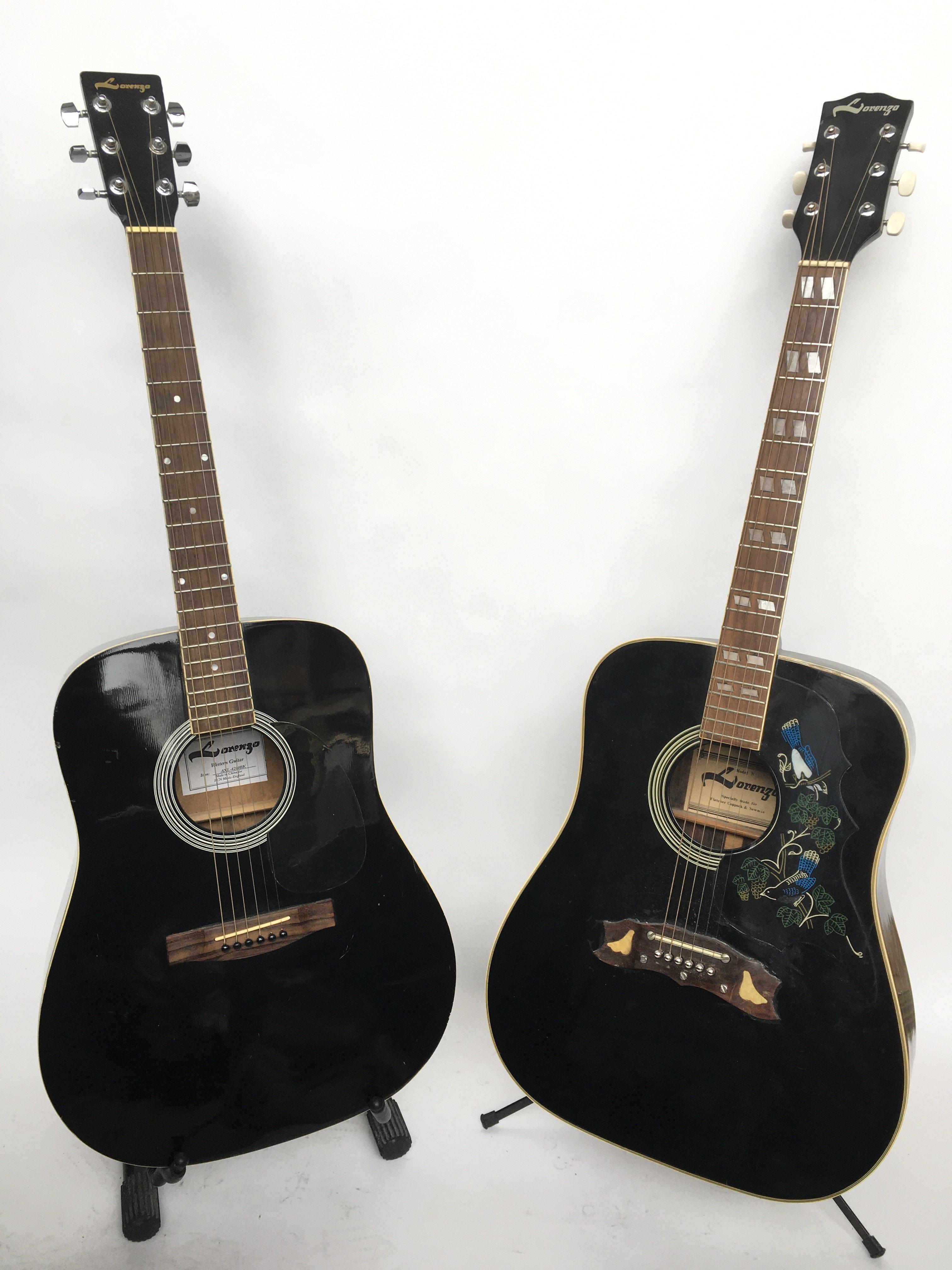 Two Lorenzo acoustic guitars comprising an Axl 620