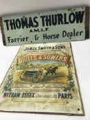 A hand painted wooden sign for Thomas Thurlow Farr