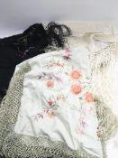 Three vintage shawls, feathered hand fans etc.