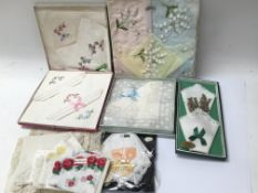 Vintage lace and silk handkerchiefs, five boxed.